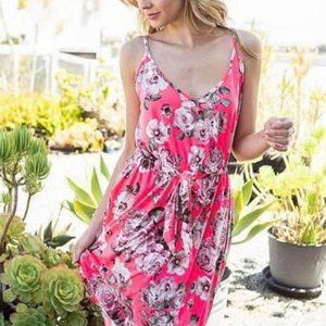Ellis Tie Waist Strap Dress - Pink Floral